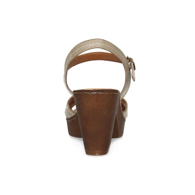 Kožené sandály na dřevěném podpatku béžové comfit, béžová, 666-8624 - 15