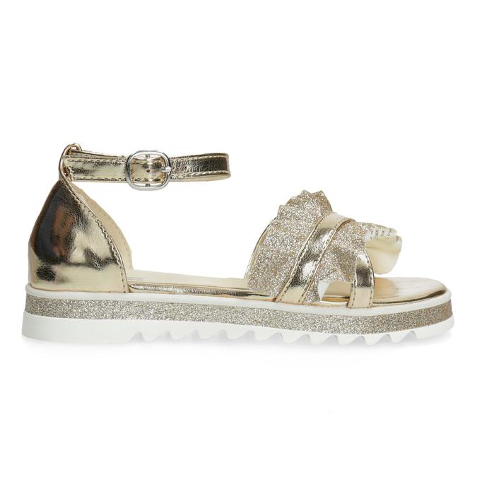 Zlaté dívčí sandály s volánem mini-b, zlatá, 361-8253 - 19
