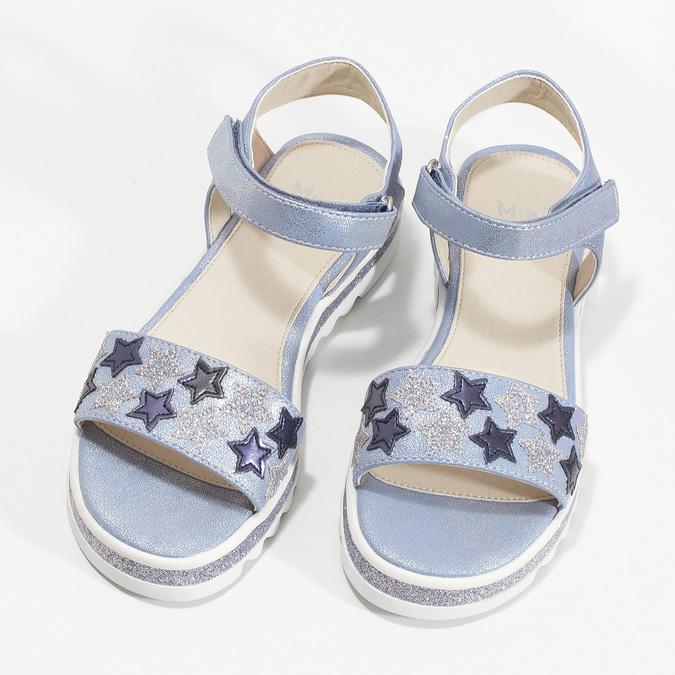 Modré dívčí sandály s hvězdičkami mini-b, modrá, 361-9172 - 16