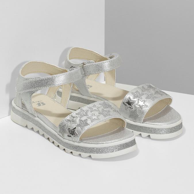 Stříbrné dívčí sandály s hvězdičkami mini-b, stříbrná, 361-1172 - 26