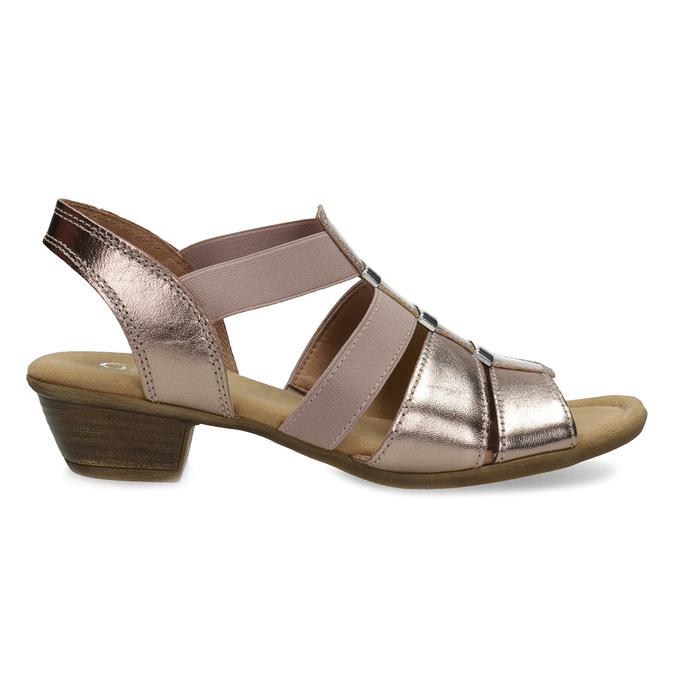 Kožené dámské sandály na nízkém podpatku gabor, růžová, 666-8338 - 19