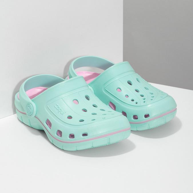 Dětské tyrkysové sandály Clogs coqui, tyrkysová, 372-7657 - 26
