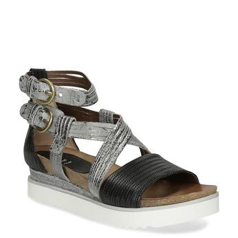 Kožené sandály na Flatformě stříbrno-černé bata, černá, 666-6605 - 13