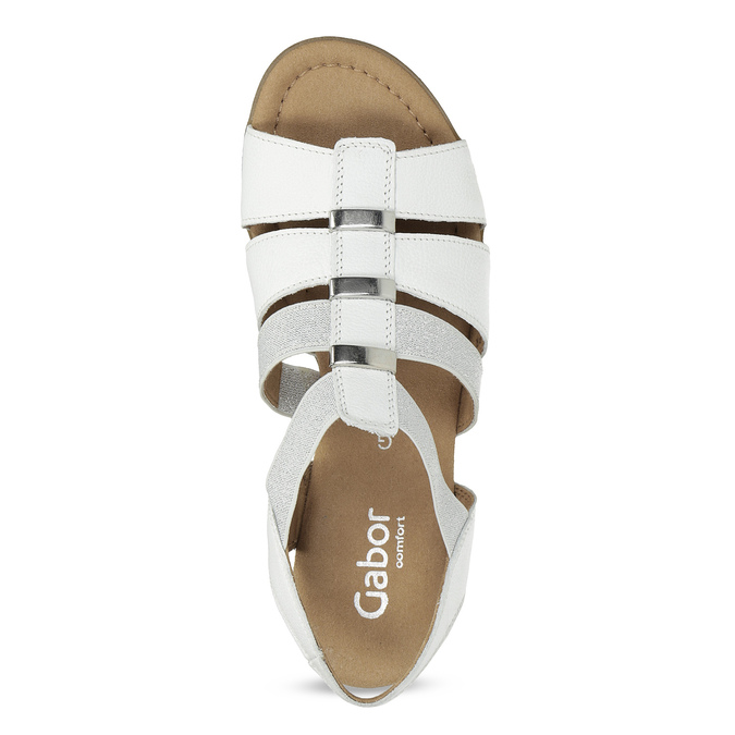Bílé kožené sandály šíře G gabor, bílá, 666-1338 - 17