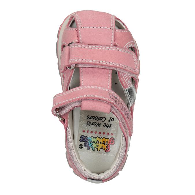 Dívčí kožené sandály s potiskem mini-b, růžová, 166-5604 - 17