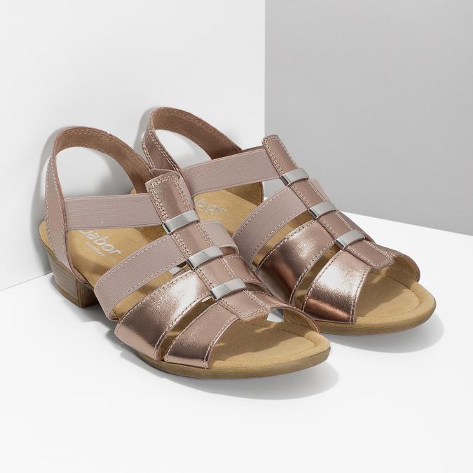 Kožené dámské sandály na nízkém podpatku gabor, růžová, 666-8338 - 26