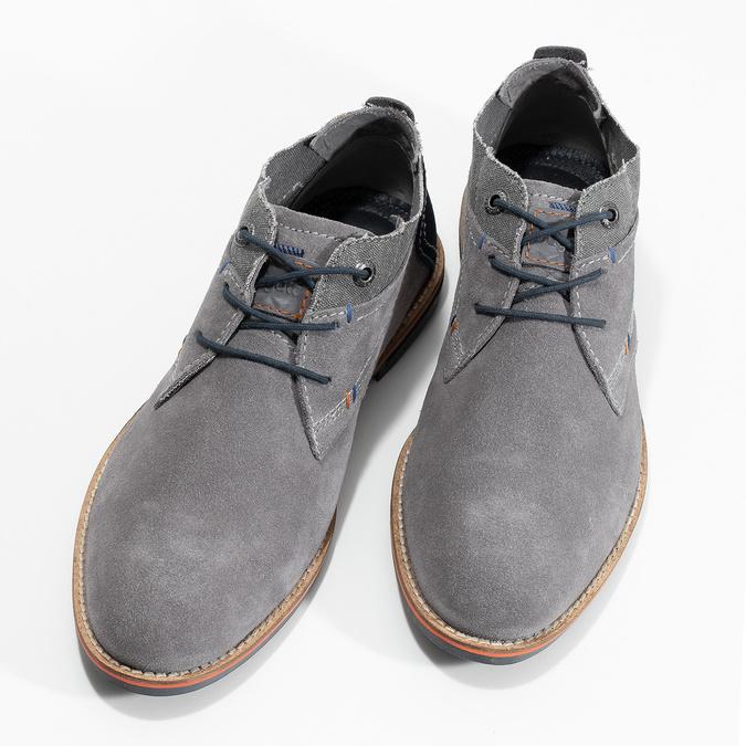 Chukka boots z broušené šedé kůže bugatti, šedá, 823-2015 - 16