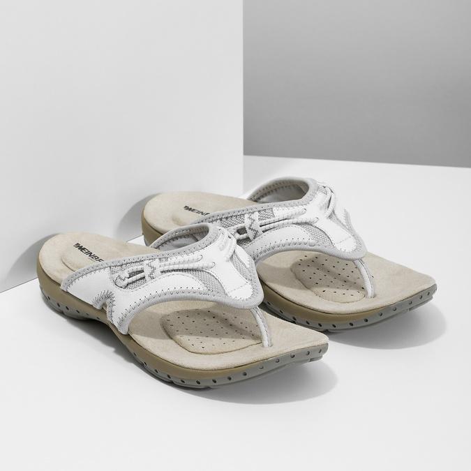 Dámské bílé kožené žabky weinbrenner, bílá, 566-1611 - 26