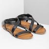 Černé kožené sandály dámské bata, černá, 566-6635 - 26