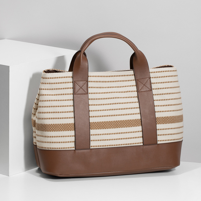 Hnědo-béžová kabelka s pruhy bata, béžová, 969-1307 - 17