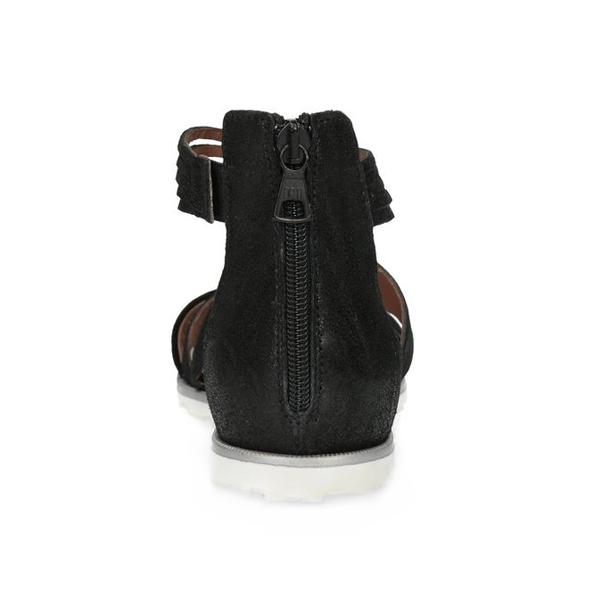 Kožené sandály s pásky kolem kotníku bata, černá, 566-6646 - 15