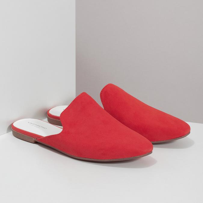 Pantofle z broušené kůže červené vagabond, červená, 573-5004 - 26