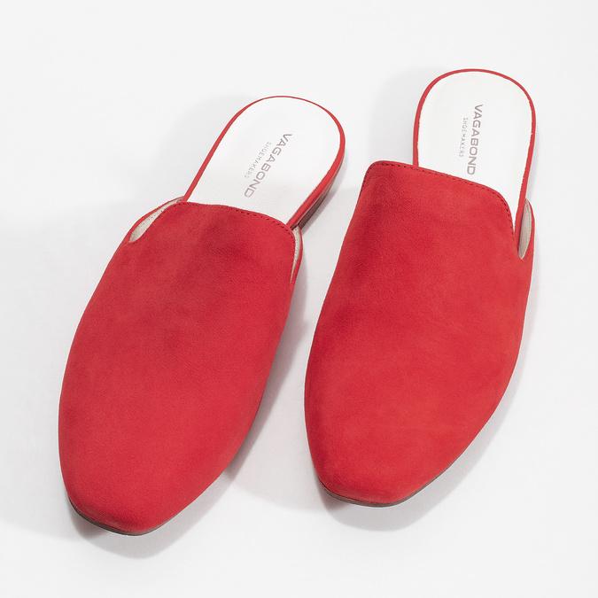 Pantofle z broušené kůže červené vagabond, červená, 573-5004 - 16