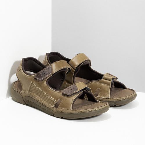Kožené pánské sandály se suchými zipy béžové weinbrenner, hnědá, 866-2644 - 26