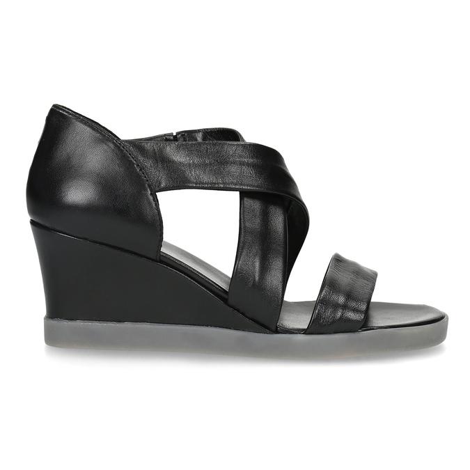 Černé kožené sandály na klínku flexible, černá, 664-6618 - 19