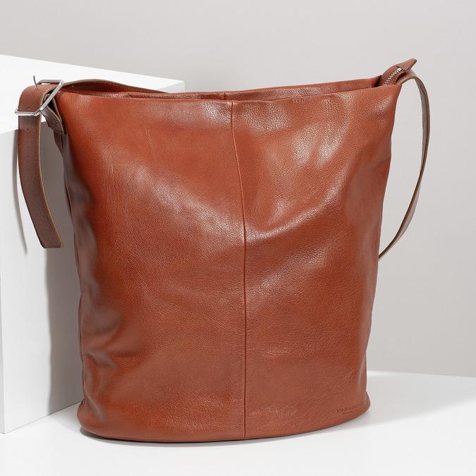 Kožená kabelka se širokým popruhem hnědá vagabond, hnědá, 966-4066 - 17