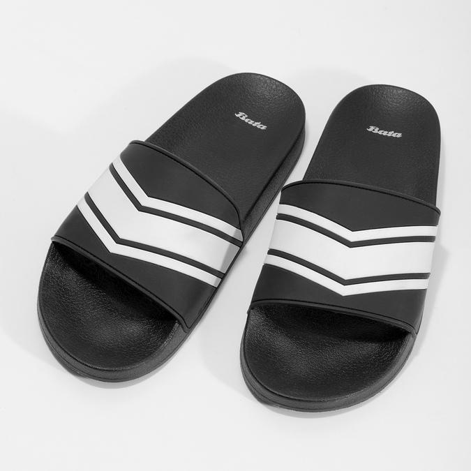 Pánské nazouváky černo-bílé bata, černá, 861-1601 - 16
