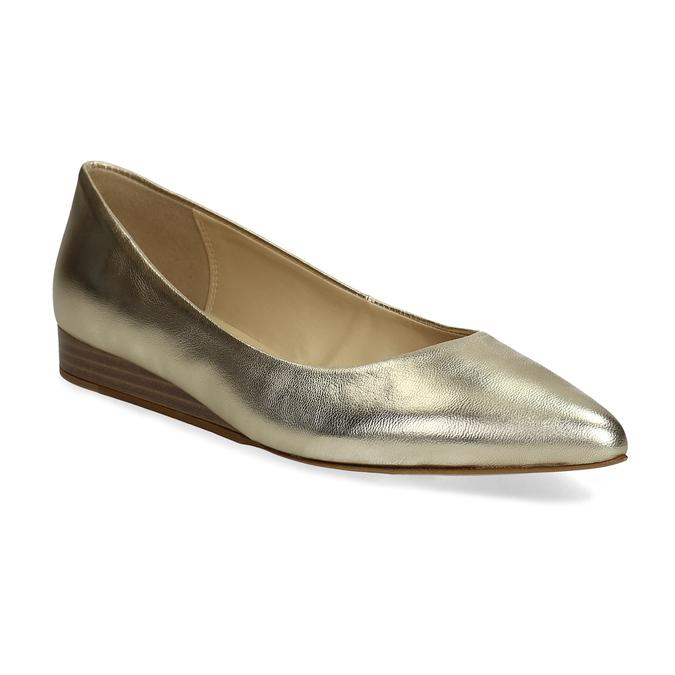 Zlaté kožené baleríny do špičky bata, 526-8242 - 13