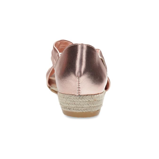 Dámské rose gold sandály na klínku bata, zlatá, 566-5649 - 15