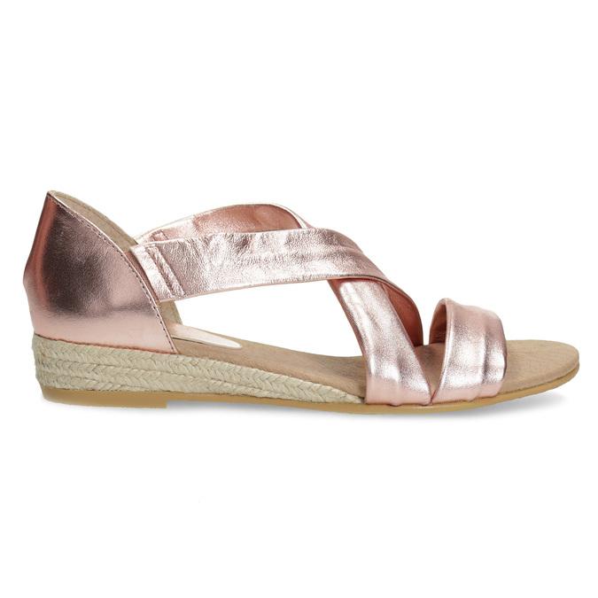 Dámské rose gold sandály na klínku bata, zlatá, 566-5649 - 19