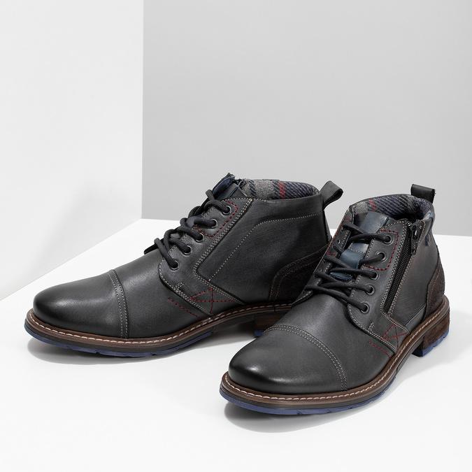 Pánská kožená kotníčková obuv se zipem bata, šedá, 896-2678 - 16