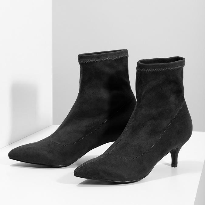 Šedé ponožkové kozačky na Kitten podpatku bata, šedá, 699-2643 - 16