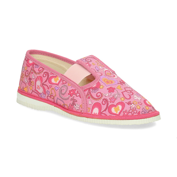 Růžové dívčí přezůvky se vzorem bata, růžová, 179-5213 - 13