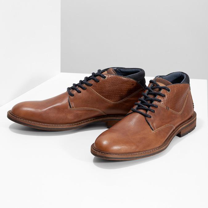 Kotníčková kožená obuv pánská hnědá bata, hnědá, 826-3505 - 16