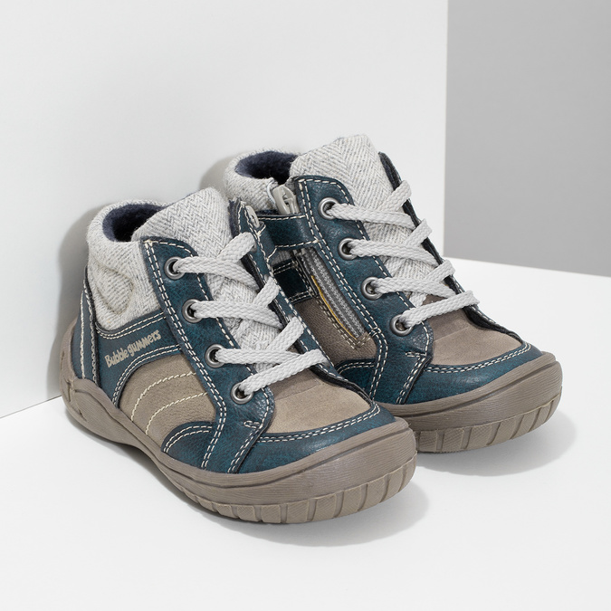 Dětská kotníčková obuv s teplou podšívkou bubblegummers, šedá, 111-2627 - 26