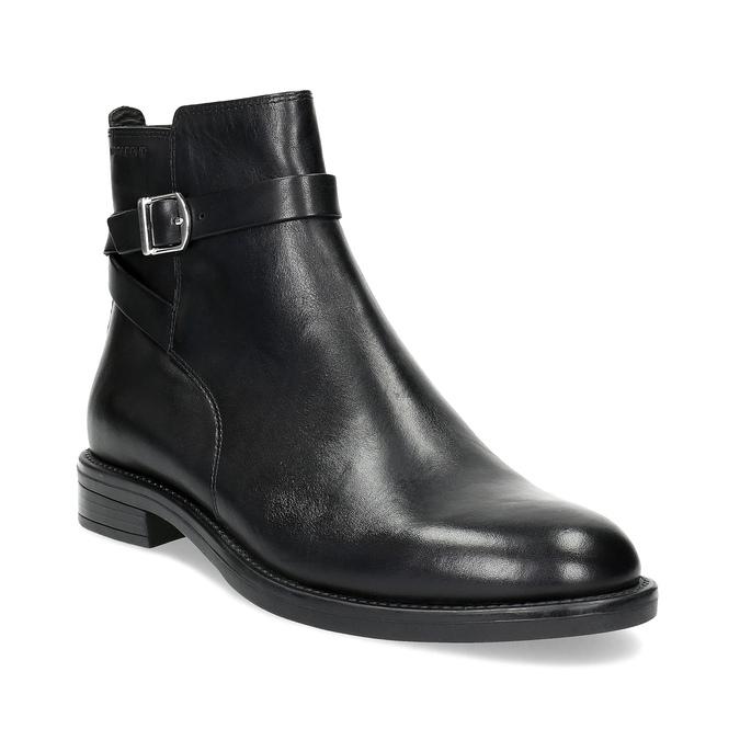 Kožená dámská kotníčková obuv s přezkou vagabond, černá, 514-6140 - 13