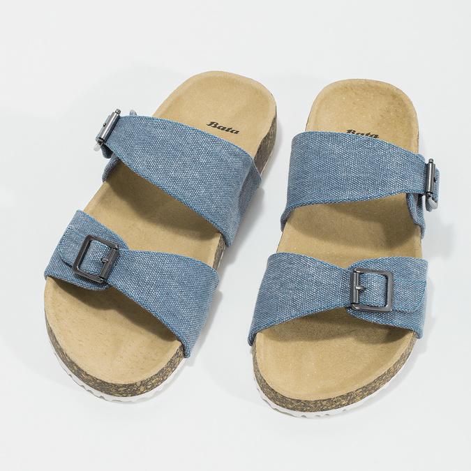 Dámské korkové pantofle modré bata, modrá, 579-9625 - 16
