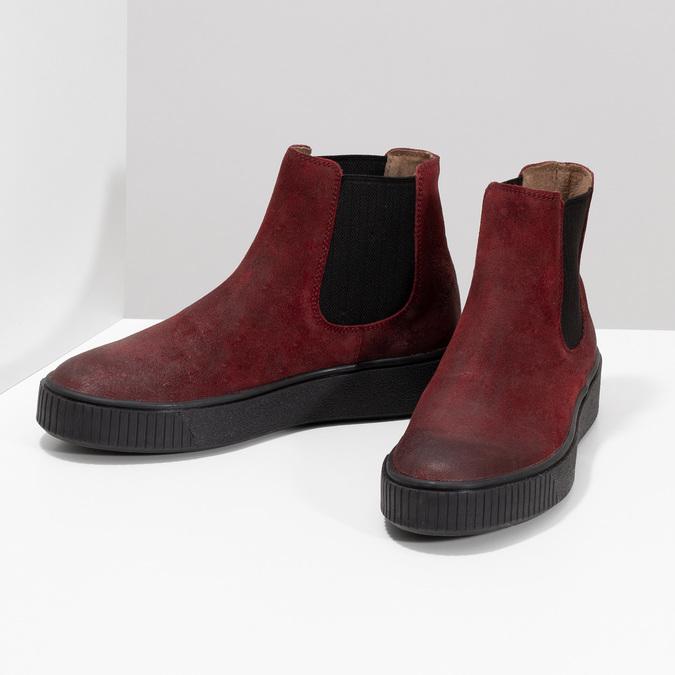Kožená vínová dámská Chelsea obuv bata, červená, 596-5713 - 16