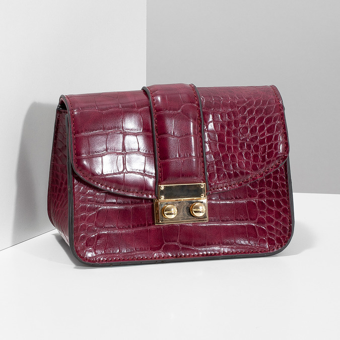 Vínová Crossbody kabelka s řetízkem bata, červená, 961-5869 - 17