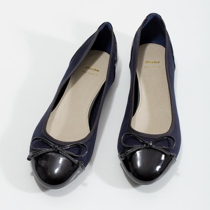 Tmavě modré dámské baleríny s mašličkou bata, modrá, 529-9640 - 16
