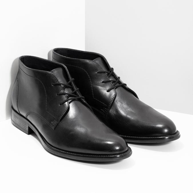 Pánská kožená kotníčková obuv bata, černá, 824-6892 - 26