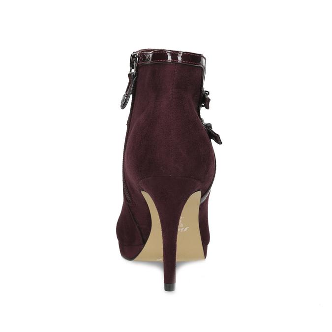 Vínové kotníčkové kozačky s lakovanými pásky bata, červená, 799-5623 - 15
