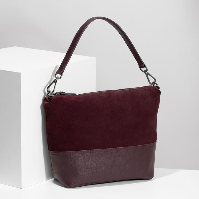Vínová kožená Hobo kabelka s popruhem bata, červená, 963-5600 - 17