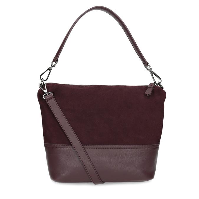 Vínová kožená Hobo kabelka s popruhem bata, červená, 963-5600 - 16
