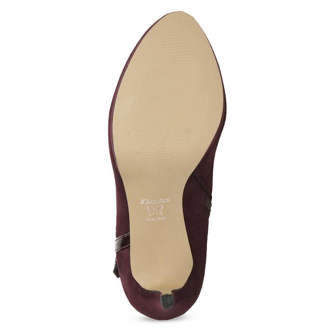 Vínové kotníčkové kozačky s lakovanými pásky bata, červená, 799-5623 - 18