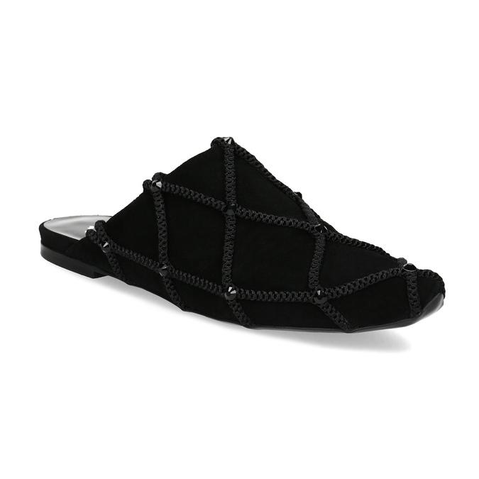 Kožené dámské nazouváky s krystaly Preciosa bata, černá, 523-6264 - 13