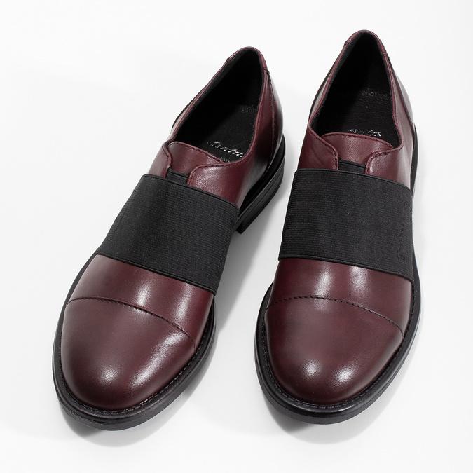 Vínové dámské polobotky s elastickým pruhem bata, červená, 514-5602 - 16