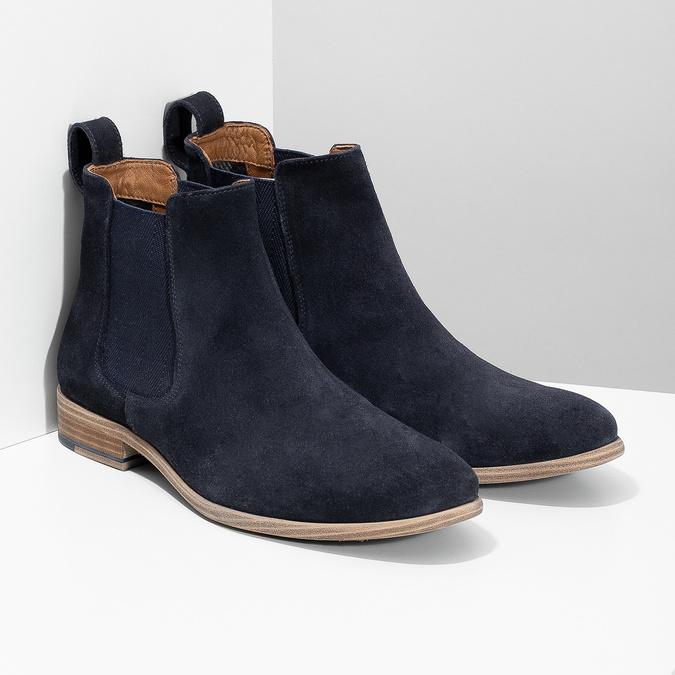 Tmavě modrá kožená pánská Chelsea obuv bata, modrá, 823-9614 - 26