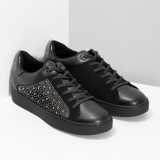 Černé dámské tenisky s kamínky bata-light, černá, 549-6611 - 26