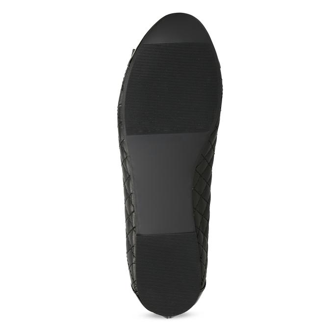 Černé kožené baleríny s mašlí a prošíváním bata, černá, 524-6667 - 18