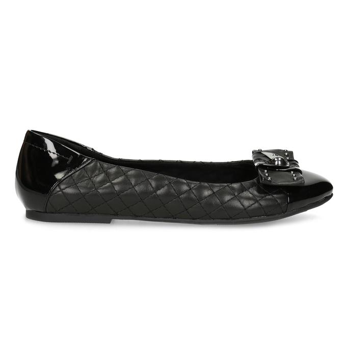 Černé kožené baleríny s mašlí a prošíváním bata, černá, 524-6667 - 19