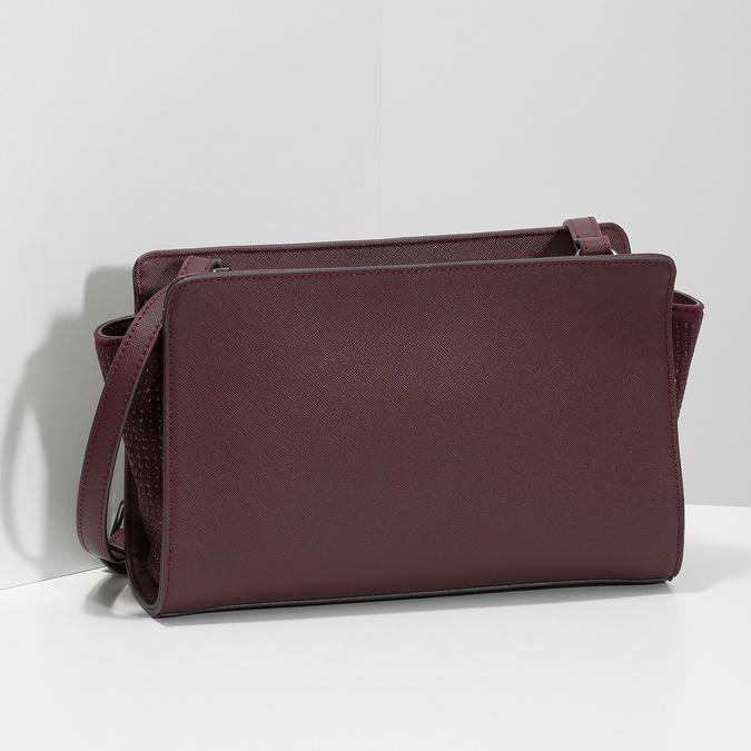 Vínová kabelka v crossbody stylu bata, červená, 961-5885 - 17