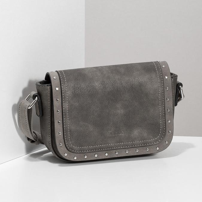 Šedá crossbody kabelka se cvočky gabor-bags, hnědá, 961-4038 - 17
