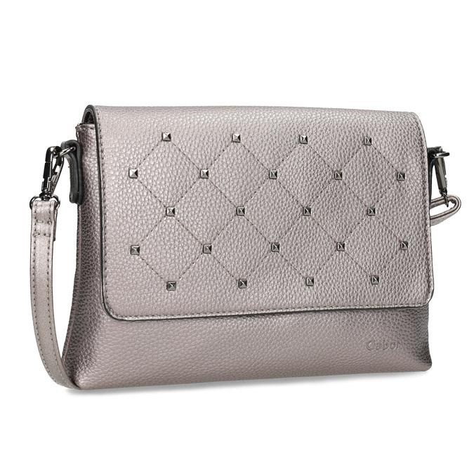 Stříbrná crossbody kabelka se cvočky gabor-bags, bílá, 961-1045 - 13