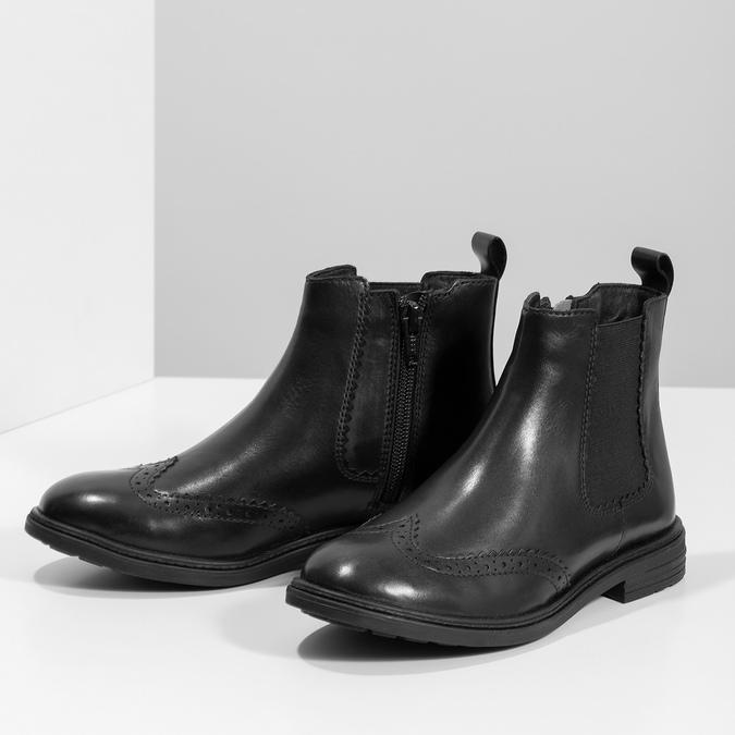 Dětská kožená Chelsea obuv mini-b, černá, 394-6425 - 16