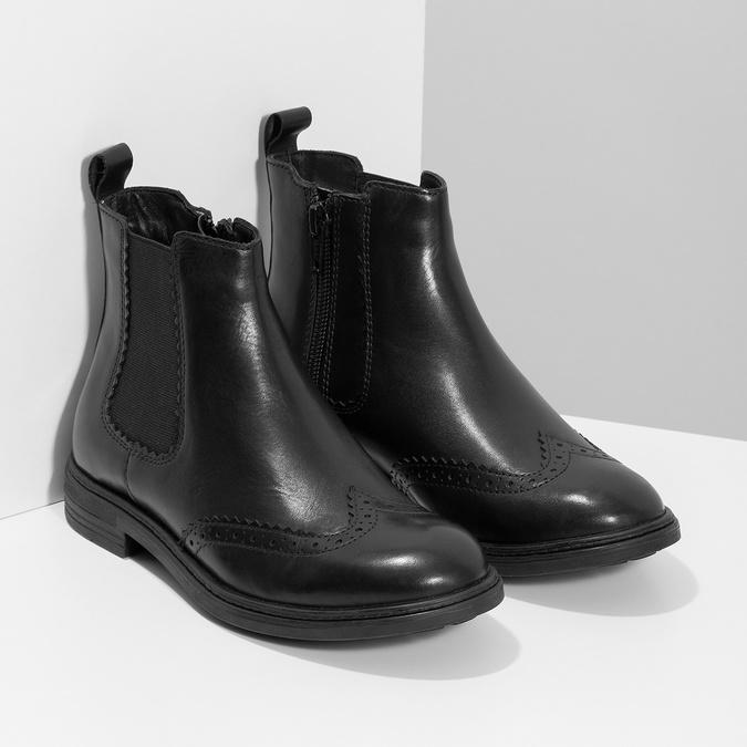 Dětská kožená Chelsea obuv mini-b, černá, 394-6425 - 26